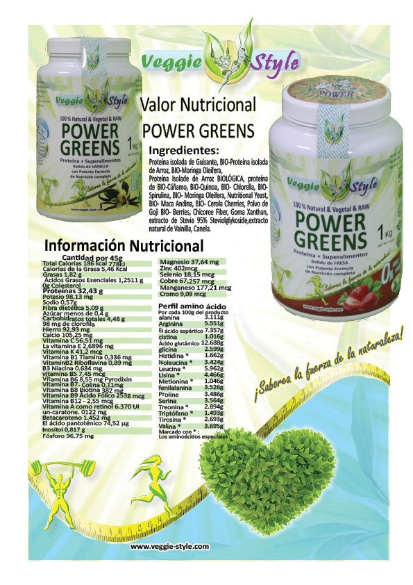 batido proteina vegana power greens