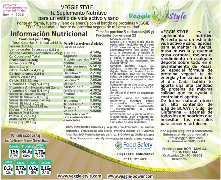 Veggie Style batido de proteína vegetal sabor CHOCOLATE